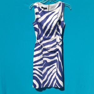 Nine West Blue White Zebra Sheath Dress with belt